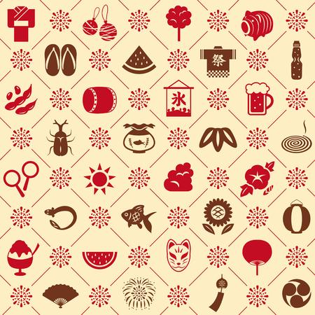 Japanese summer seamless pattern background Иллюстрация