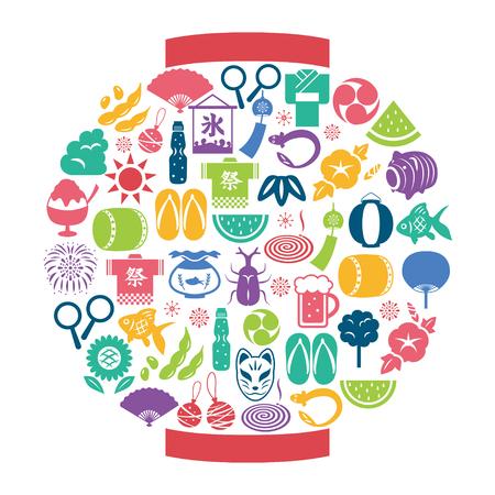 Japanese summer icon lantern shaped Ilustrace