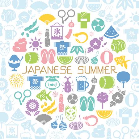 Japanese summer icon round shaped