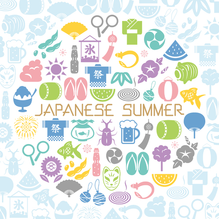 Japanese summer icon round shaped