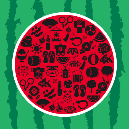 green lantern: Japanese summer icon watermelon shaped