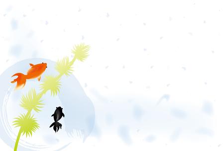 金魚の夏のグリーティング カード