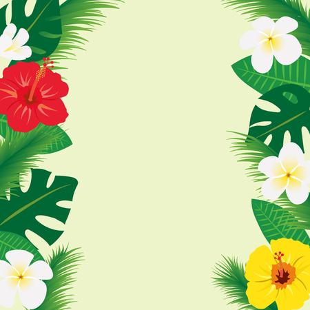Tropical flowers and leaf frames 向量圖像