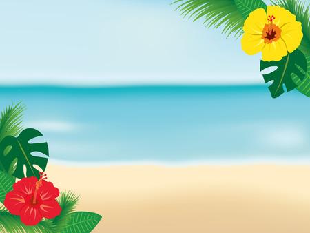 ビーチと熱帯の花フレーム
