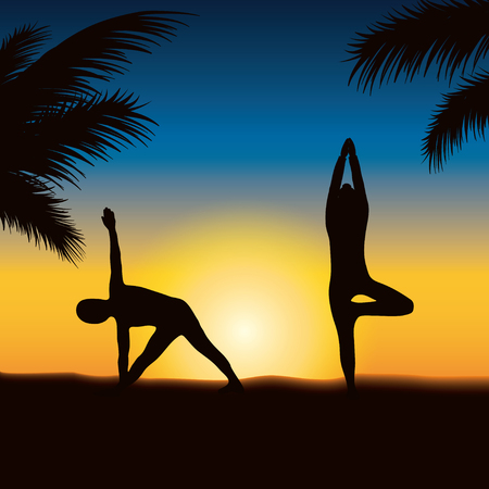 People who play yoga on the sunset beach Illustration