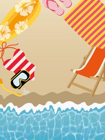 Summer beach background with beach items