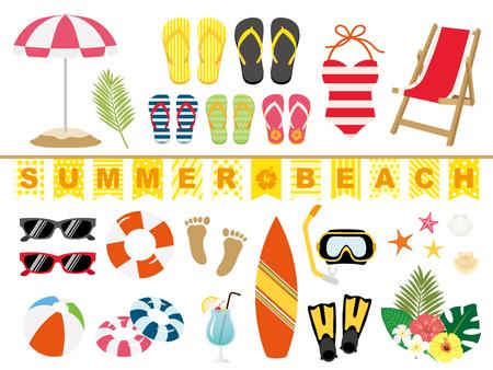 Summer beach illustration set