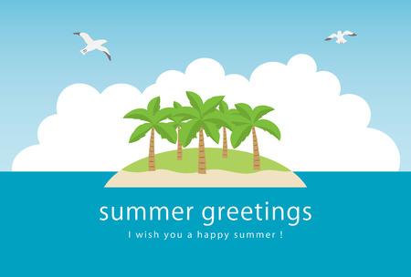 Summer greeting card of marine Illustration