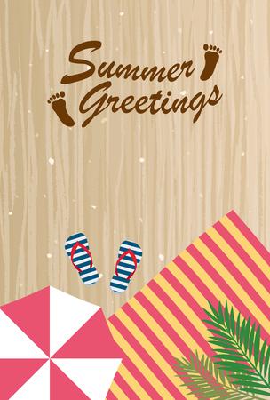 Summer greeting card of beach Illustration