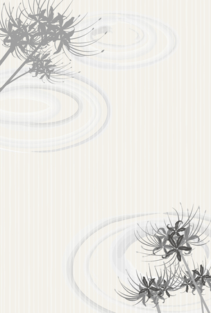 ancestor: Lycoris radiata flower monochrome post card Illustration