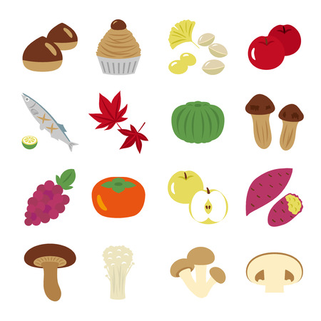 Japanese autumn food vector icon set