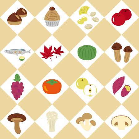 Japanese autumn food vector icon set Stock Vector - 82917199