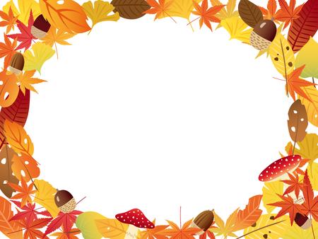momiji: Autumn leaves vector frame Illustration