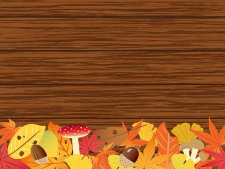 Autumn leaves vector frame with wooden board