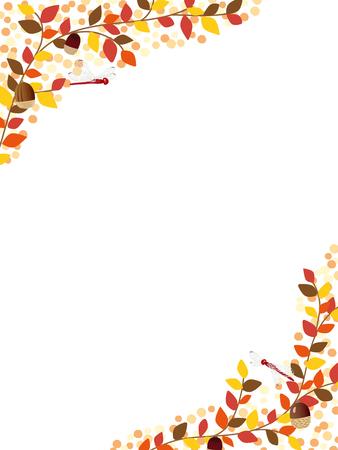 dead tree: Autumn leaves vector frame Illustration