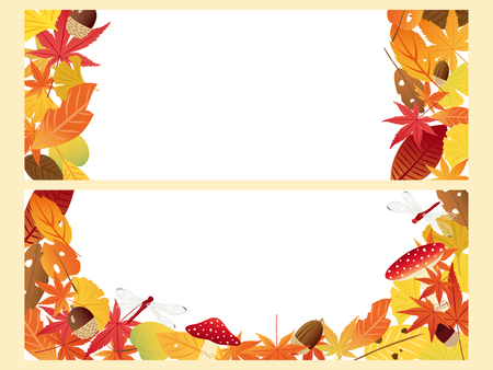 japanese maple: Autumn leaves decorated on wooden boards vector banners set
