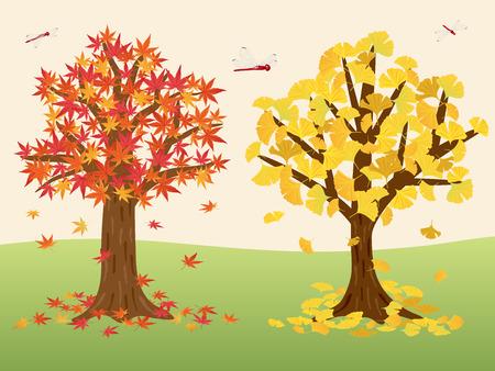 Autumn leaves trees vector illustration 向量圖像