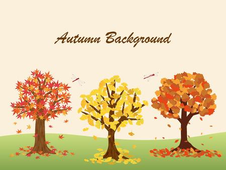 Autumn leaves trees vector illustration Ilustração