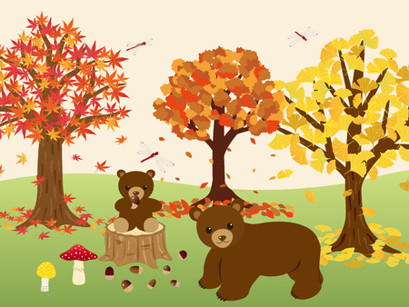 Animals in the autumn forest vector illustration
