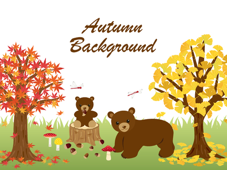 dead tree: Animals in the autumn forest vector illustration