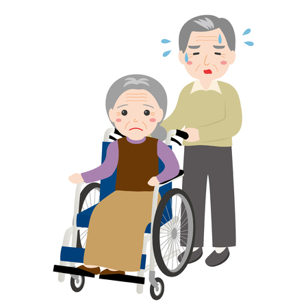 An old man is caring for an old woman