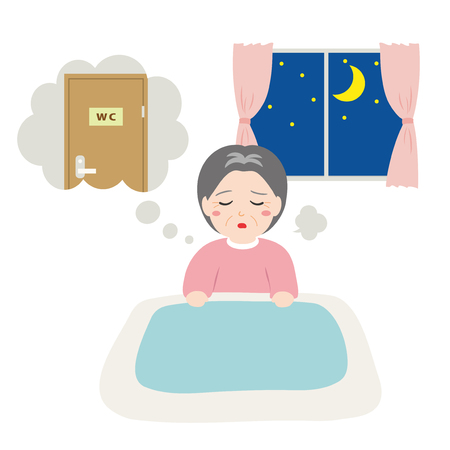 Senior women awakened to want to go to the toilet in the middle of the night. 免版税图像 - 83396459
