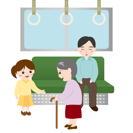 Girls giving up the train seat to the old woman. Illustration