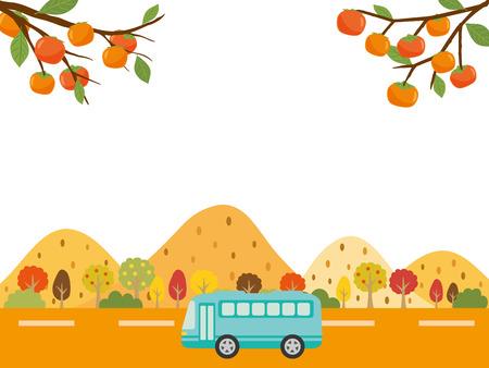 가을 버스 투어 벡터 배경 일러스트