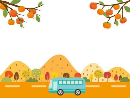 Autumn bus tour vector background