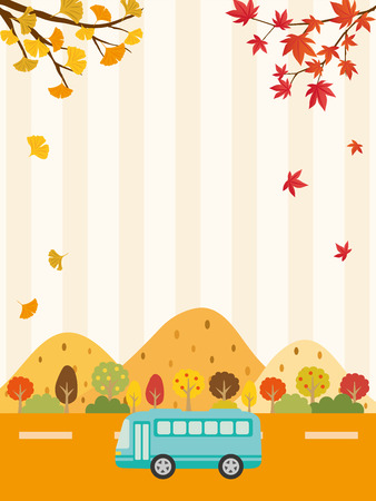 Autumn bus tour vector background Ilustração