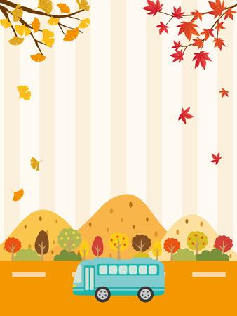Autumn bus tour vector background Illustration