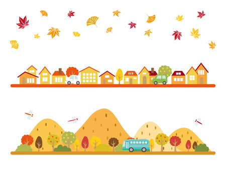 Landscape in the autumn vector banner set