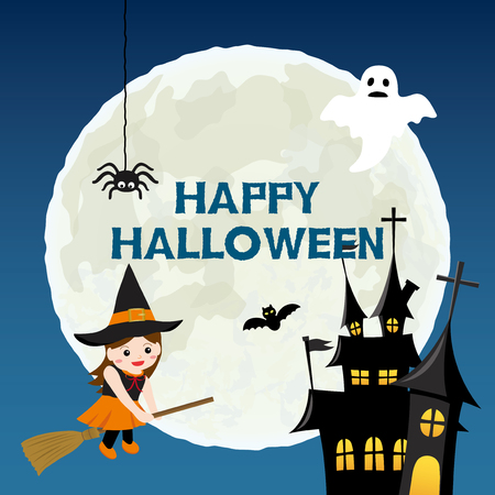 Happy halloween vector illustration Çizim