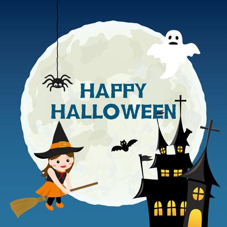 Happy halloween vector illustration Illustration