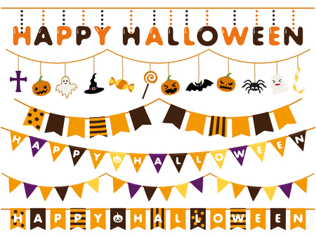 Halloween garland line vector illustration set Illusztráció