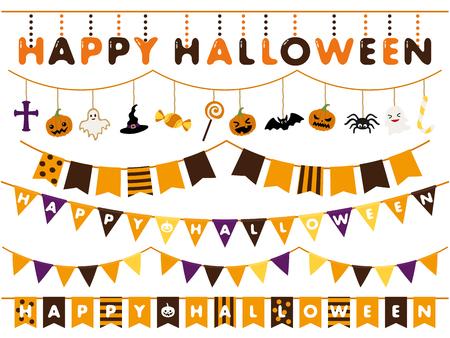 Halloween garland line vector illustration set Stock Illustratie
