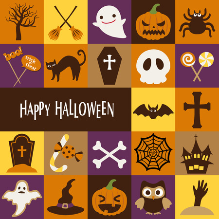 Happy Halloween-Vektor-Icon-Set Ghost Web Kürbis