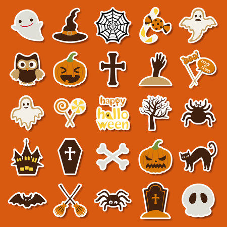 Happy halloween vector icon set ghost web pumpkin