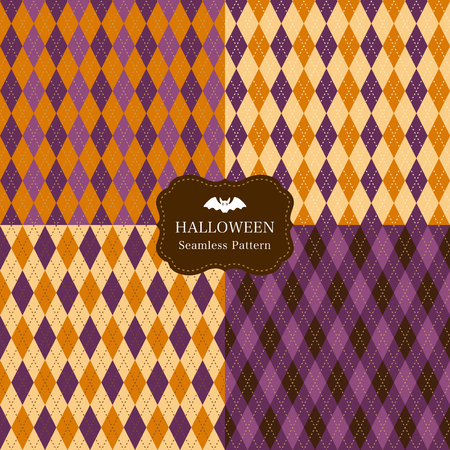 Argyle pattern set of halloween color.