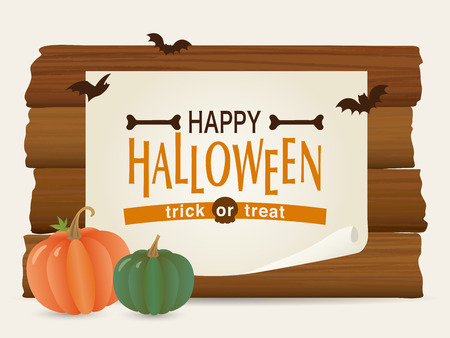 halloween wooden board vector illustration Ilustrace