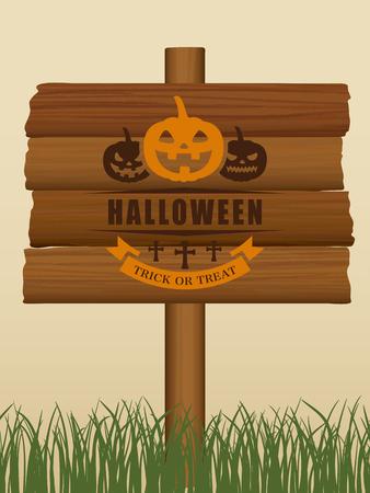 halloween wooden board vector illustration Illustration