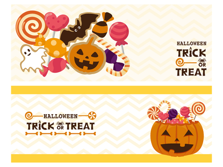 Happy halloween vector banner set 矢量图像