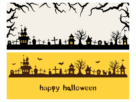 Happy halloween vector banner set Çizim