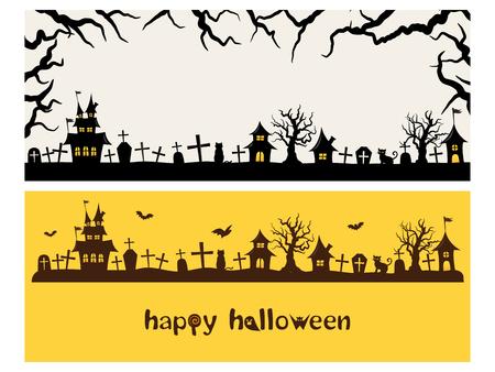 Happy halloween vector banner set Illustration