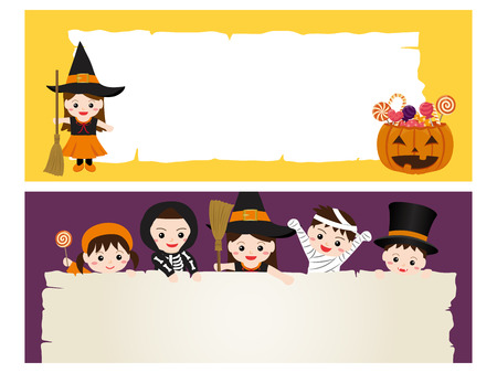 Happy halloween vector banner set