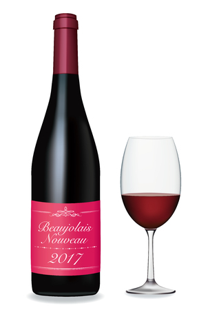 2017 Beaujolais nouveau wine bottle and glass image
