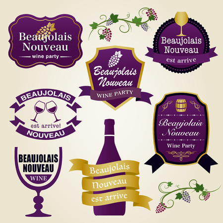 Beaujolais nouveau vector vintage label set