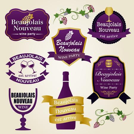 Beaujolais nouveau vector vintage label set