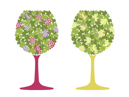 Red wine and white wine of grape pattern vector illustration Illustration