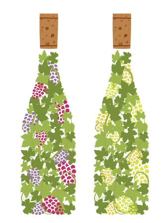 Red wine and white wine of grape pattern vector illustration Ilustracja